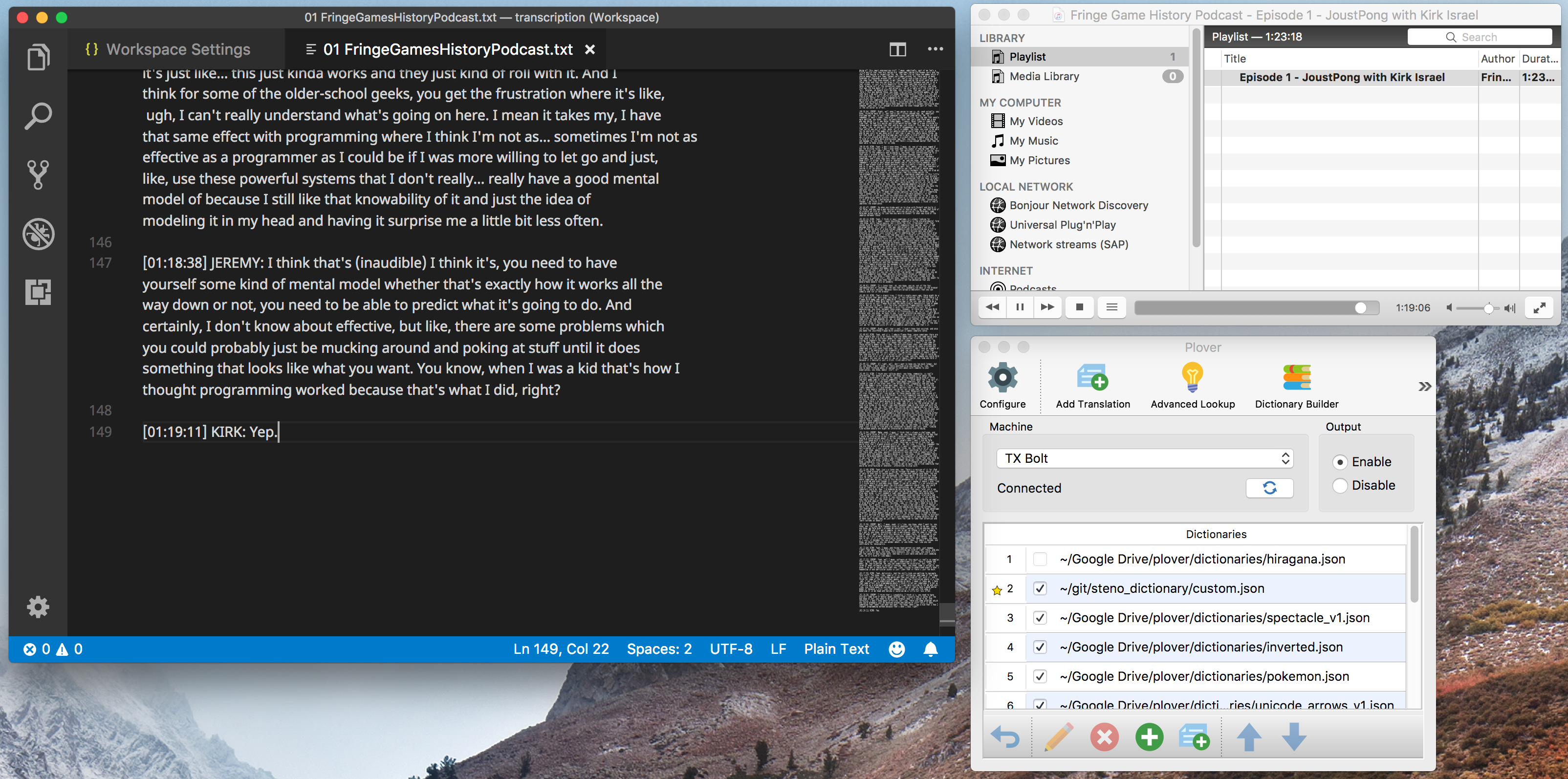 Screenshot of VSCode with an in-progress transcript, Plover in the enabled state, and VLC playing a podcast